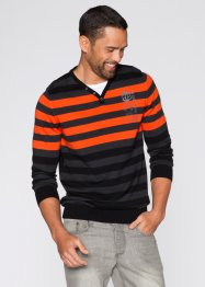 Pullover im Slim Fit, RAINBOW, anthrazit meliert/dunkelorange gestreift