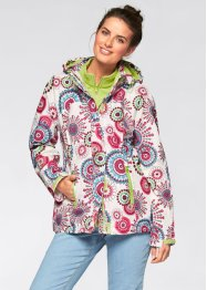 3 in 1 Funktions-Outdoorjacke mit Kapuze, bpc bonprix collection, wollweiss bedruckt