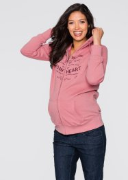 Umstands- Sweatjacke, bpc bonprix collection, rauchrose bedruckt