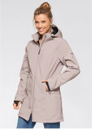 Funktions-Softshell-Langjacke mit Teddyfleece, bpc bonprix collection, naturstein