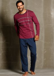 Pyjama, bpc bonprix collection, dunkelblau/bordeaux