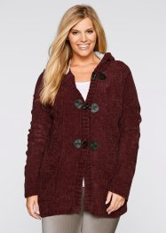 Chenille-Strickjacke, Langarm, bpc bonprix collection, ahornrot