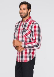 Langarm-Karohemd Regular Fit, bpc bonprix collection, rot/schwarz/weiss kariert