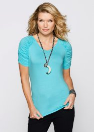 T-Shirt mit Raffung, bpc selection, aqua