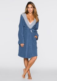 Fleece Bademantel mit Kapuze, bpc bonprix collection, jeansblau
