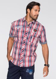 Kurzarmhemd, Regular Fit, bpc bonprix collection, weiss/rot kariert