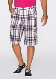 Cargo-Bermuda Regular Fit, bpc bonprix collection, weiss kariert