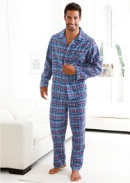 Flanellpyjama, bpc bonprix collection, blau kariert