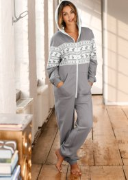 Unisex-Overall, bpc bonprix collection, grau/wollweiss bedruckt