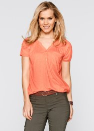 Kurzarm-Shirtbluse, bpc bonprix collection, lachs meliert