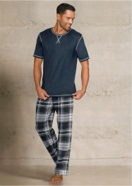 Pyjama, bpc bonprix collection, blau melange kariert
