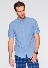 Kurzarm-Hemd Regular Fit, bpc bonprix collection, mittelblau/weiss meliert