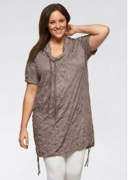 Halbarm-Longshirt mit Crash-Effekt, bpc bonprix collection, taupe