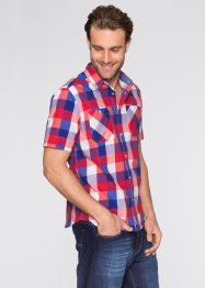 Kurzarm-Hemd Regular Fit, bpc bonprix collection, royal/erdbeere kariert