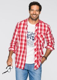 2tlg Set: Hemd + T-Shirt Regular Fit, John Baner JEANSWEAR, rot kariert + weiss