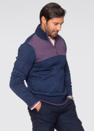 Troyer-Pullover Regular Fit, bpc selection, dunkelblau meliert