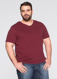 V-T-Shirt (3er-Pack) Regular Fit, bpc bonprix collection, bordeaux/dkl.grün/weiss
