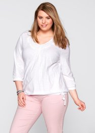 Shirt mit Elastikbund, 3/4-Arm, bpc bonprix collection, pistazie