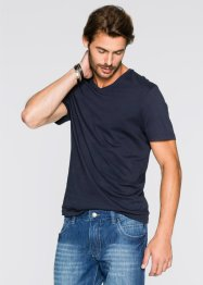 V-T-Shirt (3er-Pack) Regular Fit, bpc bonprix collection, mittelblau/weiss/dunkelblau