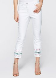 7/8 Stretchjeans mit Stickerei, bpc selection, weiss