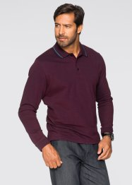 Langarmpoloshirt Regular Fit, bpc selection, bordeaux meliert