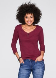 Doppelpack Rippshirts, 3/4-Arm, John Baner JEANSWEAR, bordeaux/weiss
