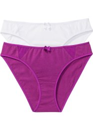 Slip (2er-Pack), bpc bonprix collection, violettorchidee + weiss