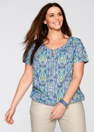 Bluse, Halbarm, bpc bonprix collection, aqua gemustert
