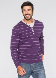 Pullover in 2-in-1-Optik und Regular Fit, bpc bonprix collection, weinbeere gestreift