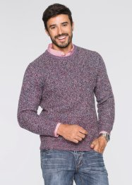 Pullover Regular Fit, bpc bonprix collection, blau/rot meliert