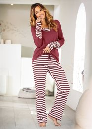 Pyjama, bpc bonprix collection, wollweiss/ahornrot gestreift