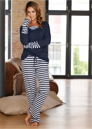 Pyjama, bpc bonprix collection, weiss/dunkelblau gestreift