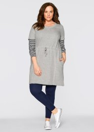 Sweat- Kleid, 1/2 Arm, bpc bonprix collection, hellgrau meliert