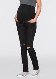 Umstandsjeans, schmales Bein im Used-Look, bpc bonprix collection, black denim