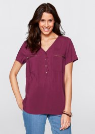 Viskose-Bluse, Halbarm, bpc bonprix collection, beere