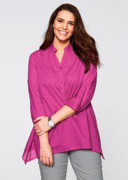 Zipfel-Bluse mit 3/4-Arm, bpc bonprix collection, fuchsia