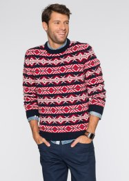 Pullover Regular Fit, bpc bonprix collection, dunkelblau/rot/wollweiss gemustert