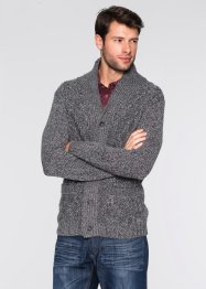 Strickjacke Zopfmuster Regular Fit, bpc bonprix collection, grau meliert