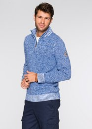 Troyerpullover Regular Fit, bpc bonprix collection, blau/weiss meliert