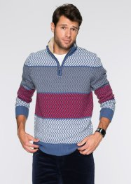 Troyer-Pullover Regular Fit, bpc bonprix collection, blau/wollweiss/rot/grau