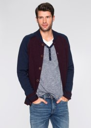 Strickjacke Regular Fit, bpc bonprix collection, blau/bordeaux meliert