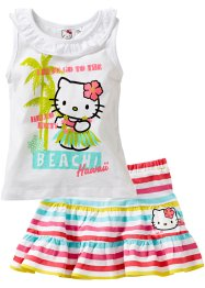 Top + Rock (2-tlg. Set), Hello Kitty, weiss gestreift