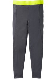 Funktionsleggings, bpc bonprix collection, schiefergrau/neongelb