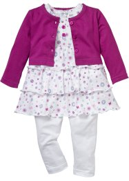 Baby Bolero + Kleid + Leggings (3-tlg.) Bio-Baumwolle, bpc bonprix collection, violettorchidee/weiss