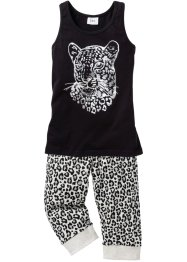 Pyjama (2-tlg. Set), bpc bonprix collection, schwarz/natur