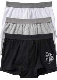 Boxershorts (3er-Pack), bpc bonprix collection, schwarz/weiss/hellgrau meliert