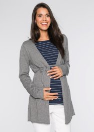 Strickjacke mit Bindeband, bpc bonprix collection, grau meliert