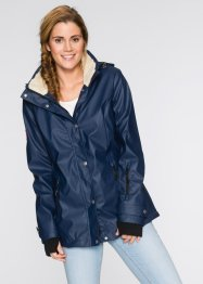 Gummierte Outdoorjacke mit Teddyfleece, bpc bonprix collection, dunkelblau