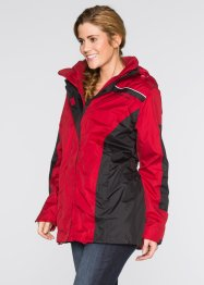 3-in-1-Funktions-Outdoorjacke in Longform, bpc bonprix collection, rot/schwarz