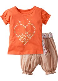 T-Shirt + Hose (2-tlg. Set), bpc bonprix collection, lachs/beige